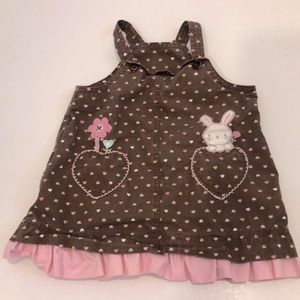 Carters brown Easter bunny heart dress